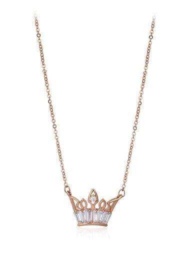 Tophills Diamond Co. 0,60 Ct Pırlanta Efekt Altın Crown Trapes Roz Kolye Renkli